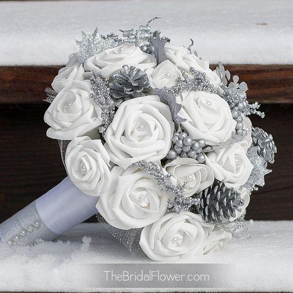 """Winter Wonderland"""" medium bridal wedding bouquet with silver glitter ..."""