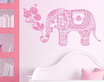 Elephant Wall Decal Family Decals Indian Boho Bedding Home  sc 1 st  Pinterest & Elephant Wall Decal Family Decals Indian Boho Bedding Home Nursery ...
