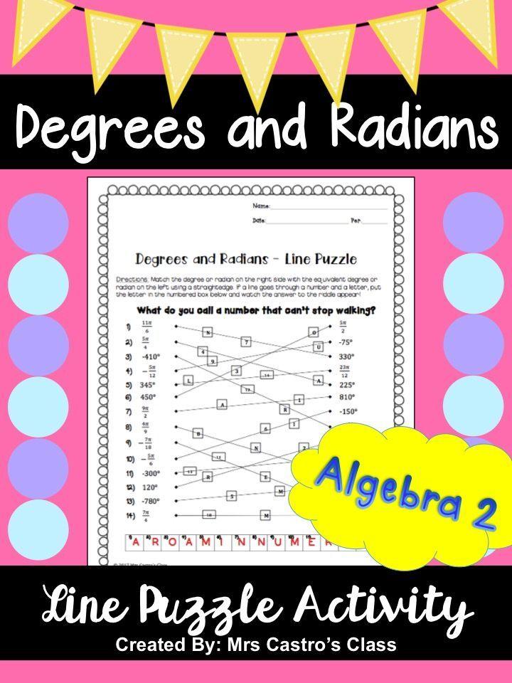 Degrees and Radians: Line Puzzle Activity | Precalculus, Algebra ...