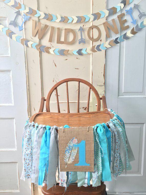 Boys High Chair Birthday Banner Custom First Decoration Smash Cake Pa