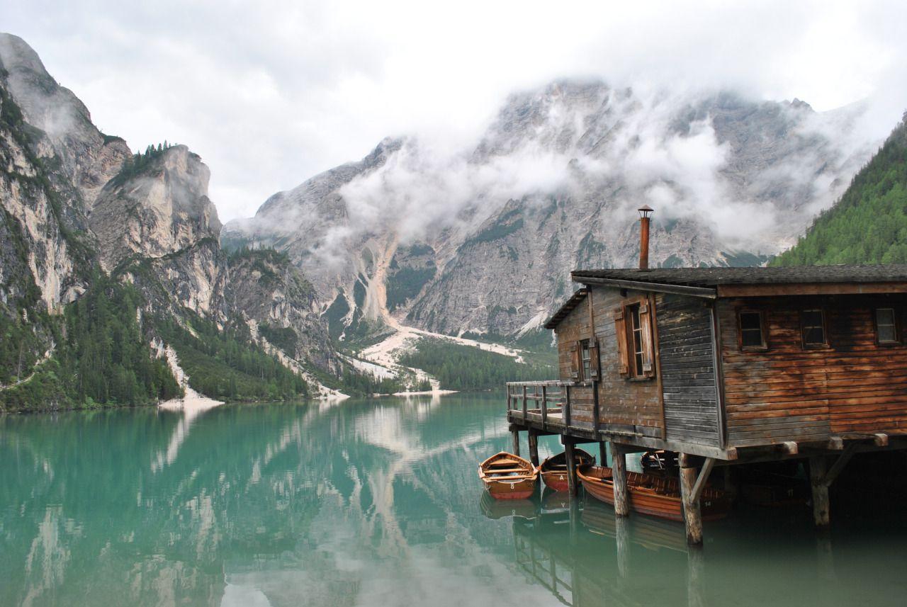 Stilts House On Braies Lake In Sudtirol Italy House On