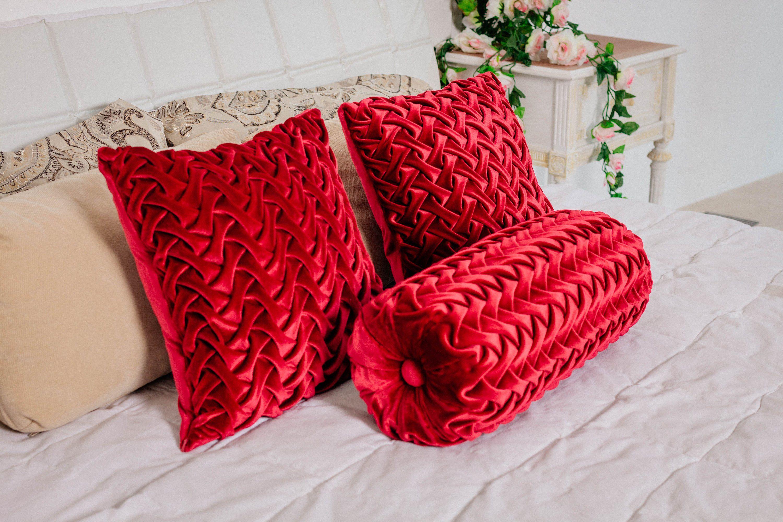 velvet bolster pillow cover red throw