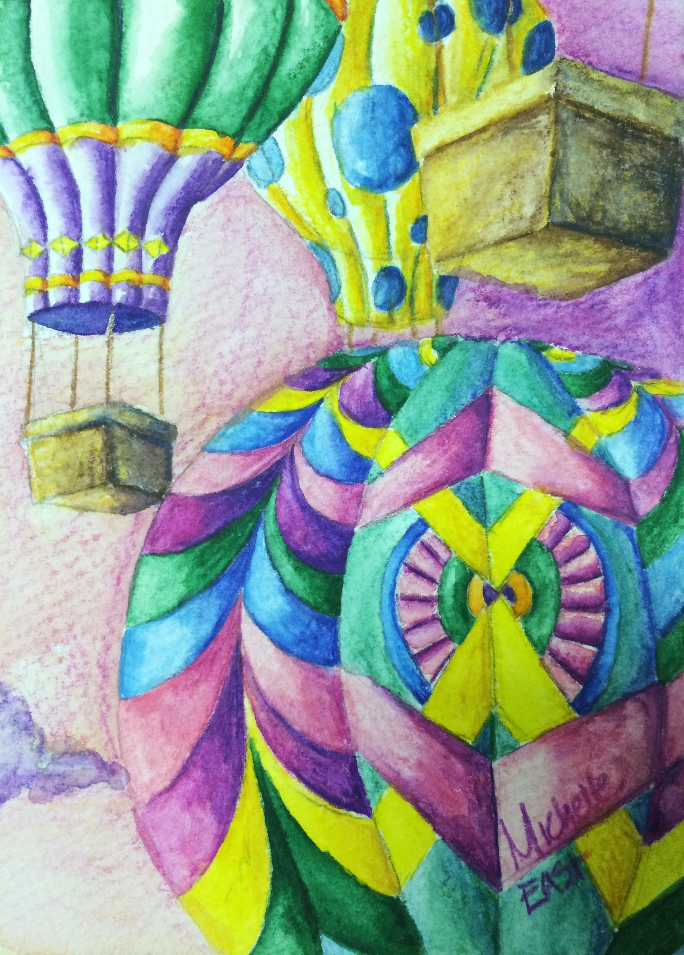 Hot Air Balloon Rhythm Pattern Variety Watercolor Pencil
