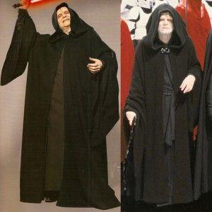 Star Wars Emperor Palpatine Darth Sidious Robe Cosplay Costume Black Cloak Hallo