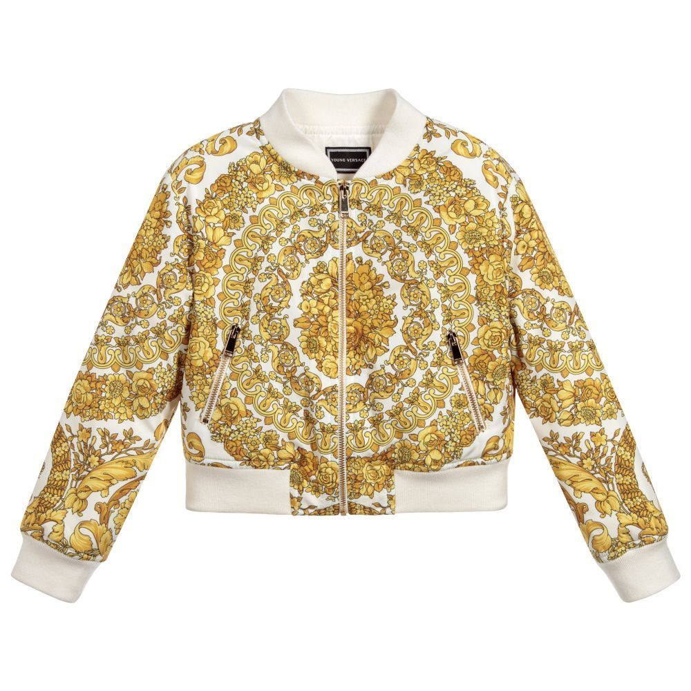 7079597a7c89 Girls Gold BAROQUE Jacket for Girl by Young Versace. Discover more  beautiful designer Coats   Jackets for kids online