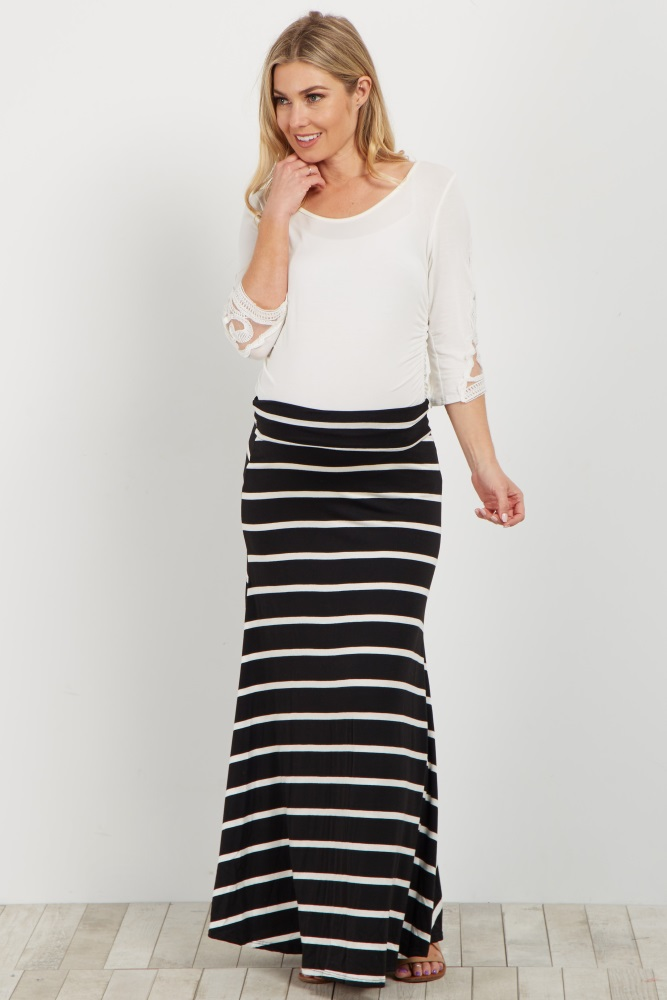 32a43832e3614 This gorgeous striped maternity maxi skirt is versatile for every occasion.  Perfect for warm or cool weather, layer this skirt over a basic cami or  under a ...