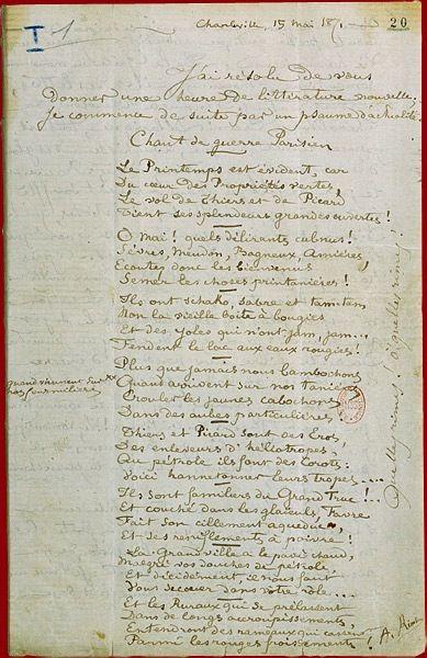 Rimbaud Lettre Du Voyant A Paul Demeny Bnf Departement Des Manuscrits Division Occidentale 6 Feuillets Manuscrit Lettre A Poete Francais