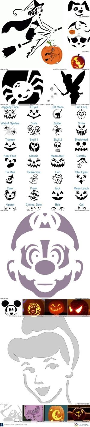 Pumpkin Carving Patterns by georgina Autumn things Pinterest - patterns for halloween decorations
