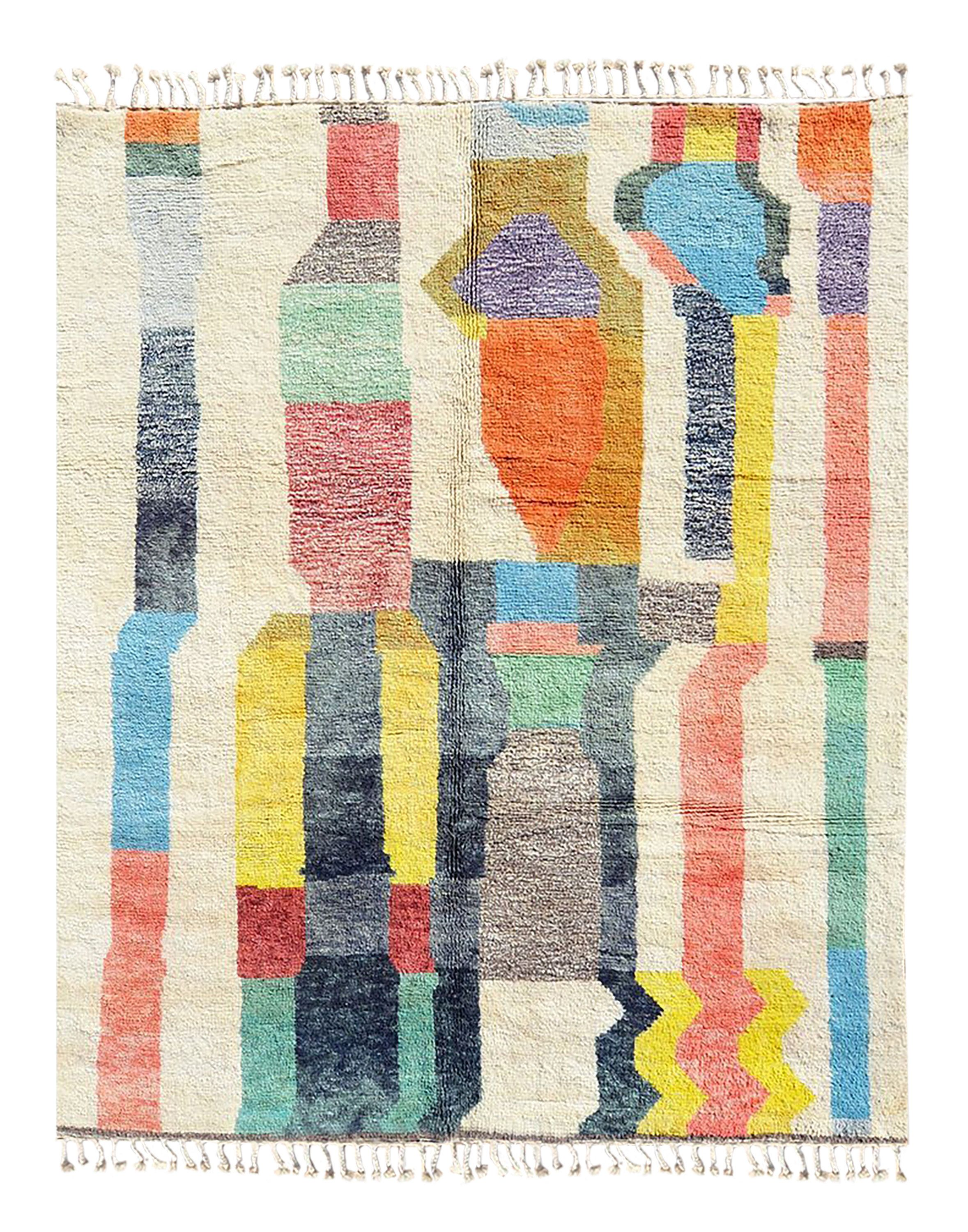 Modern Beni Ourian Bright Moroccan Rug