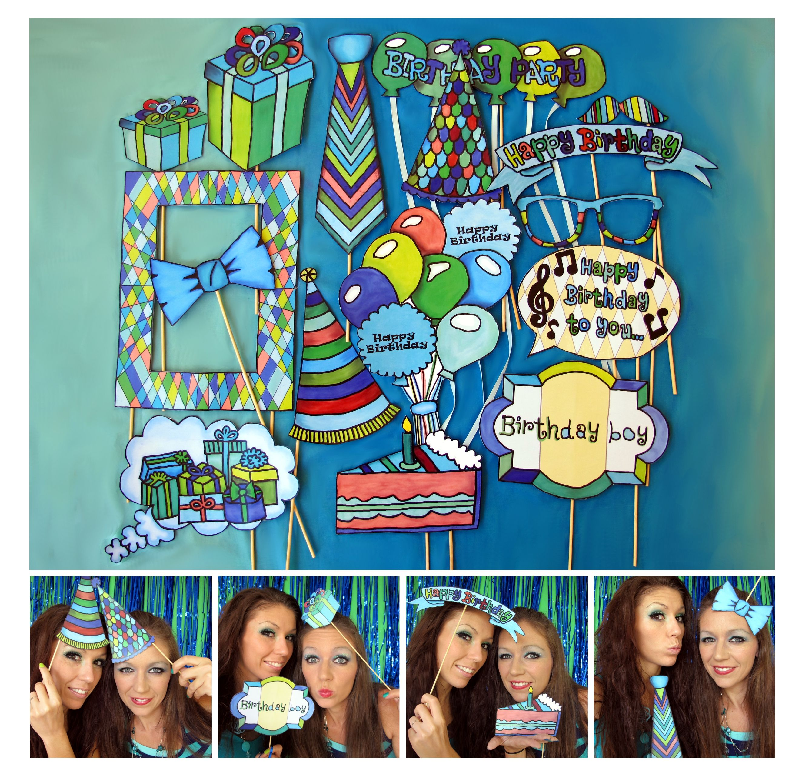 Photo Booth Prop Ideas: Boy Birthday Photo Booth Props In Blue, Green And Brown
