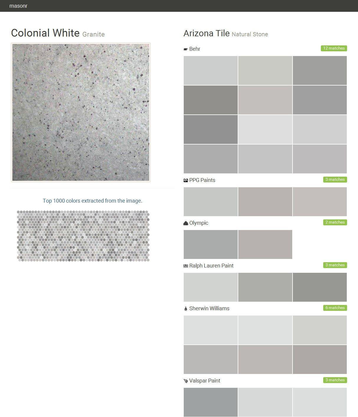 Colonial White Granite Natural Stone Arizona Tile Behr Ppg Paints Olympic Ralph Lauren Paint Sherwin Williams Valspar