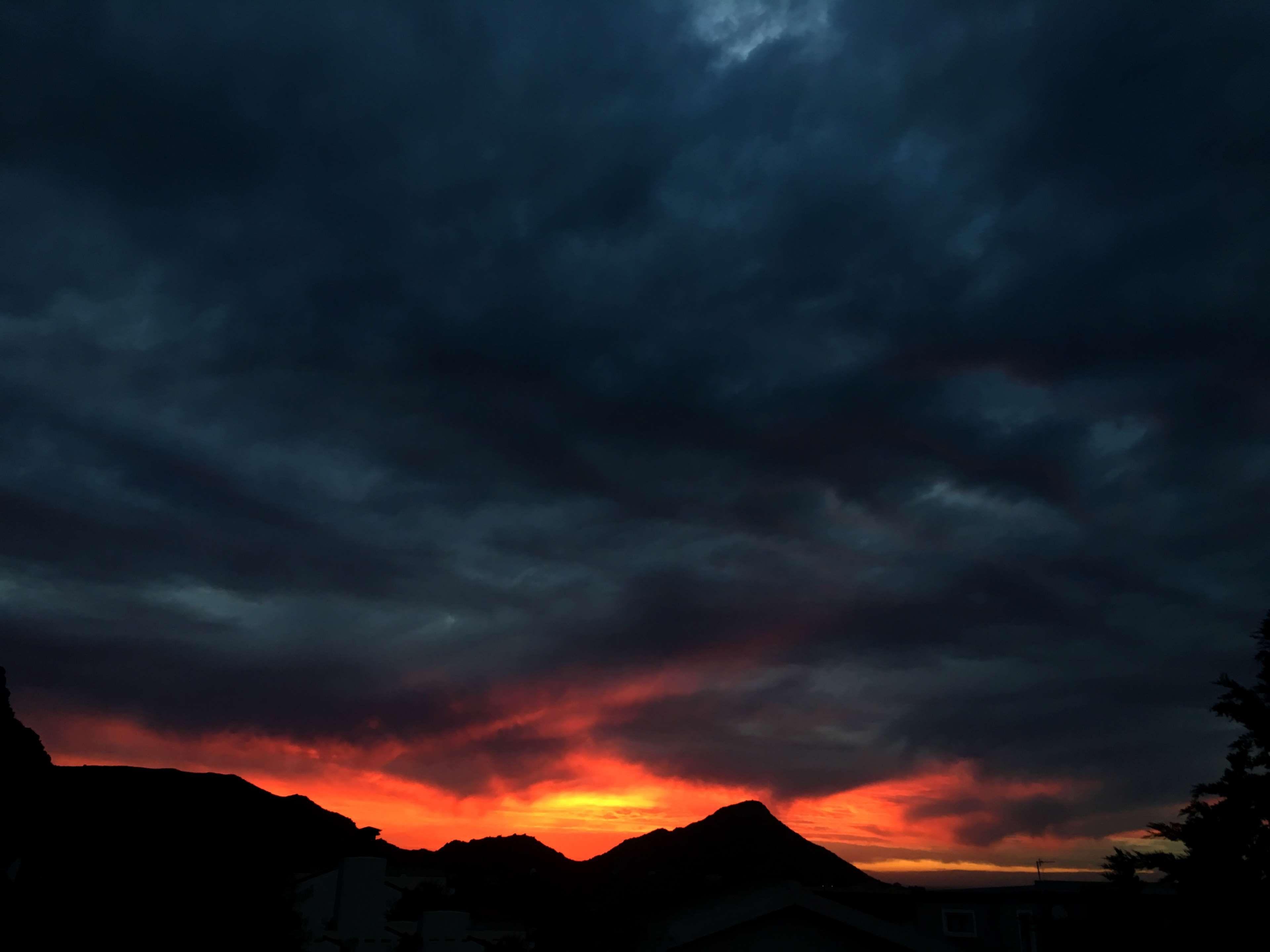 Cauldron Cloud Dark Clouds Dark Sky Evening Landscape Nature Ocean Orange Red Sea Sky Storm Sky Stormy Sun Sunset 4k Wallpaper Apus De Soare Nori Natură