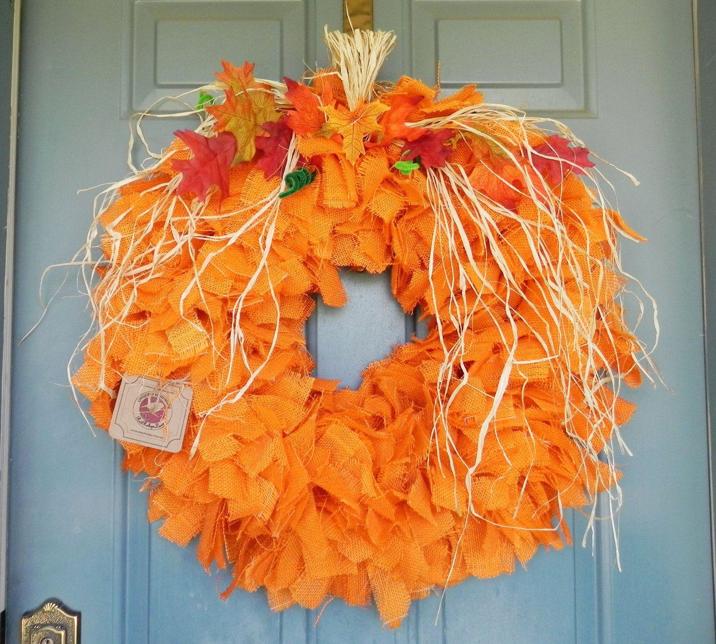 Halloween Wreath Pumpkin Wreath Harvest Wreath Orange Burlap - Large.