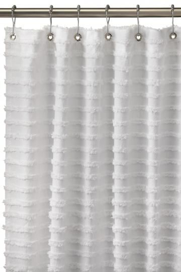 Retro Stripe Shower Curtain Chenille Shower Curtain Grommet