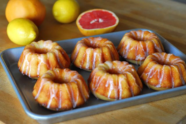 Lemon Yogurt Cake with Grapefruit Icing (I just tried them, and they are GREAT!)