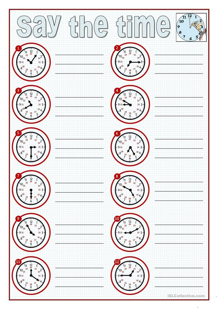 SAY THE TIME worksheet - Free ESL printable worksheets ...