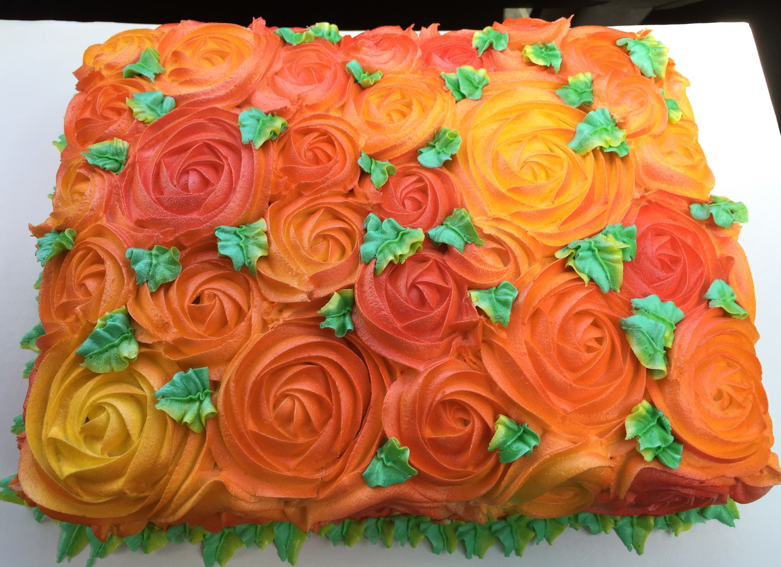 Fall colors buttercream rose swirl sheet cake jac 39 s for Autumn cake decoration