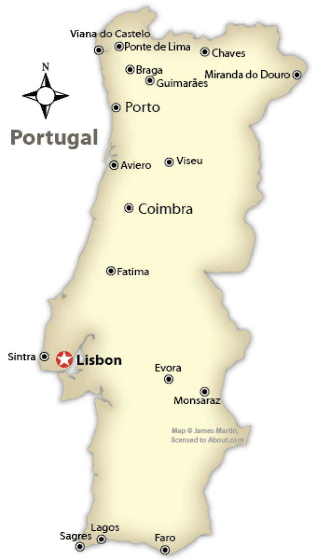 Portugal Map With Cities