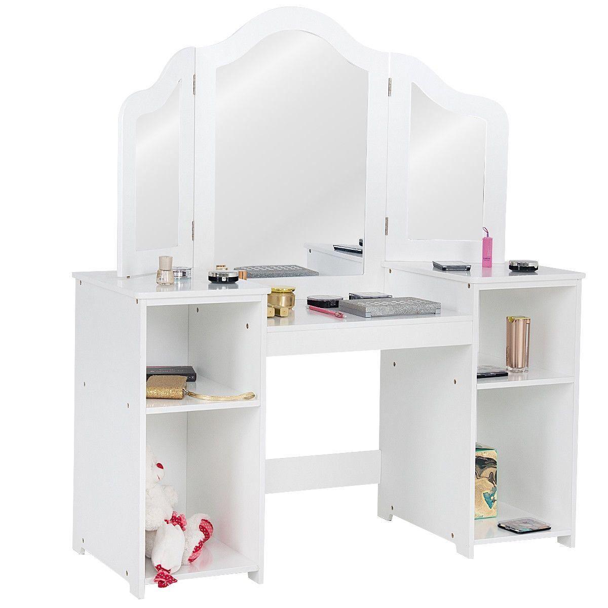 Kids Tri Folding Mirror Makeup Dressing Vanity Table Set White 1000 In 2020 Vanity Table Set Vanity Table Kids Vanity