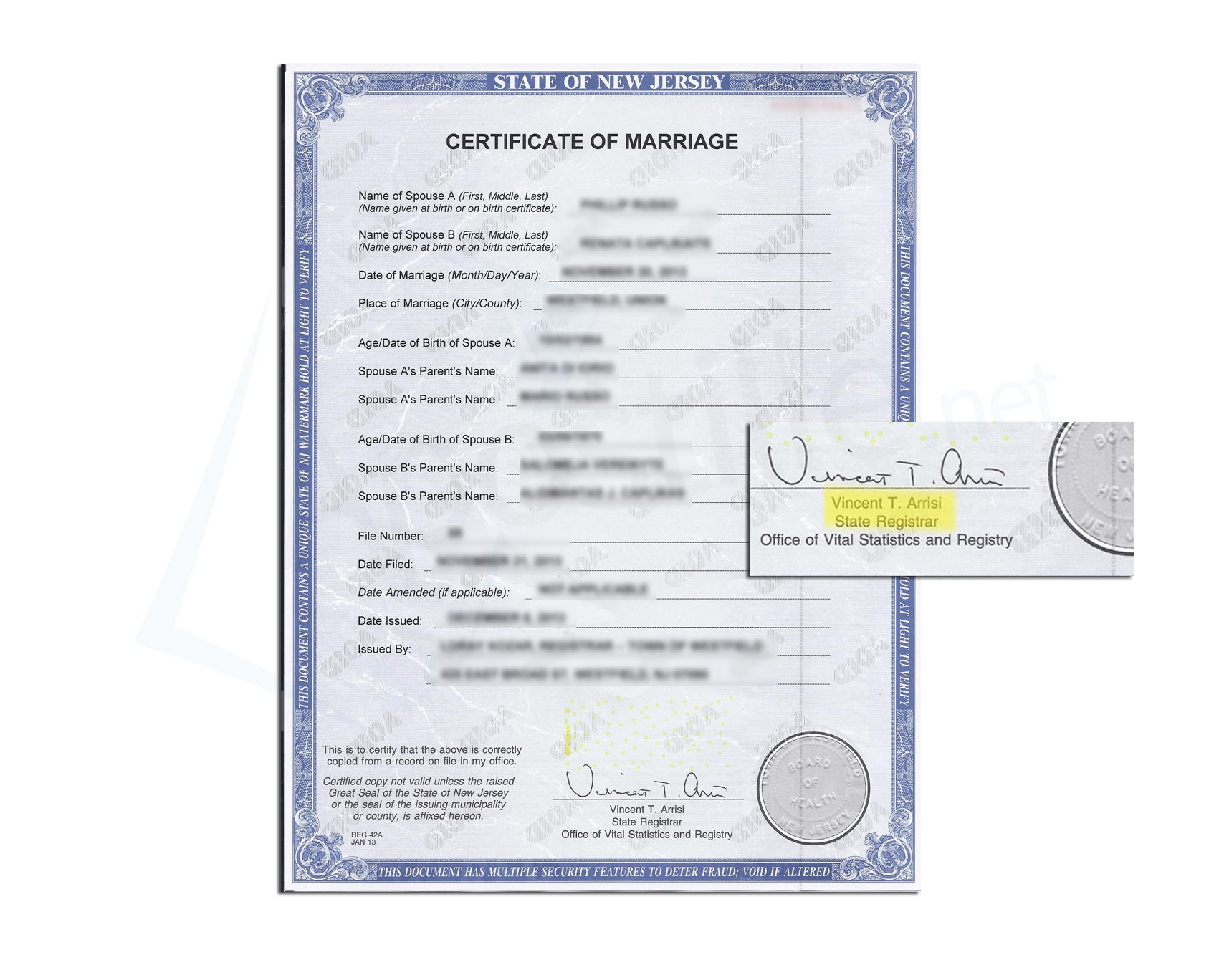 how to get marriage certificate in nj