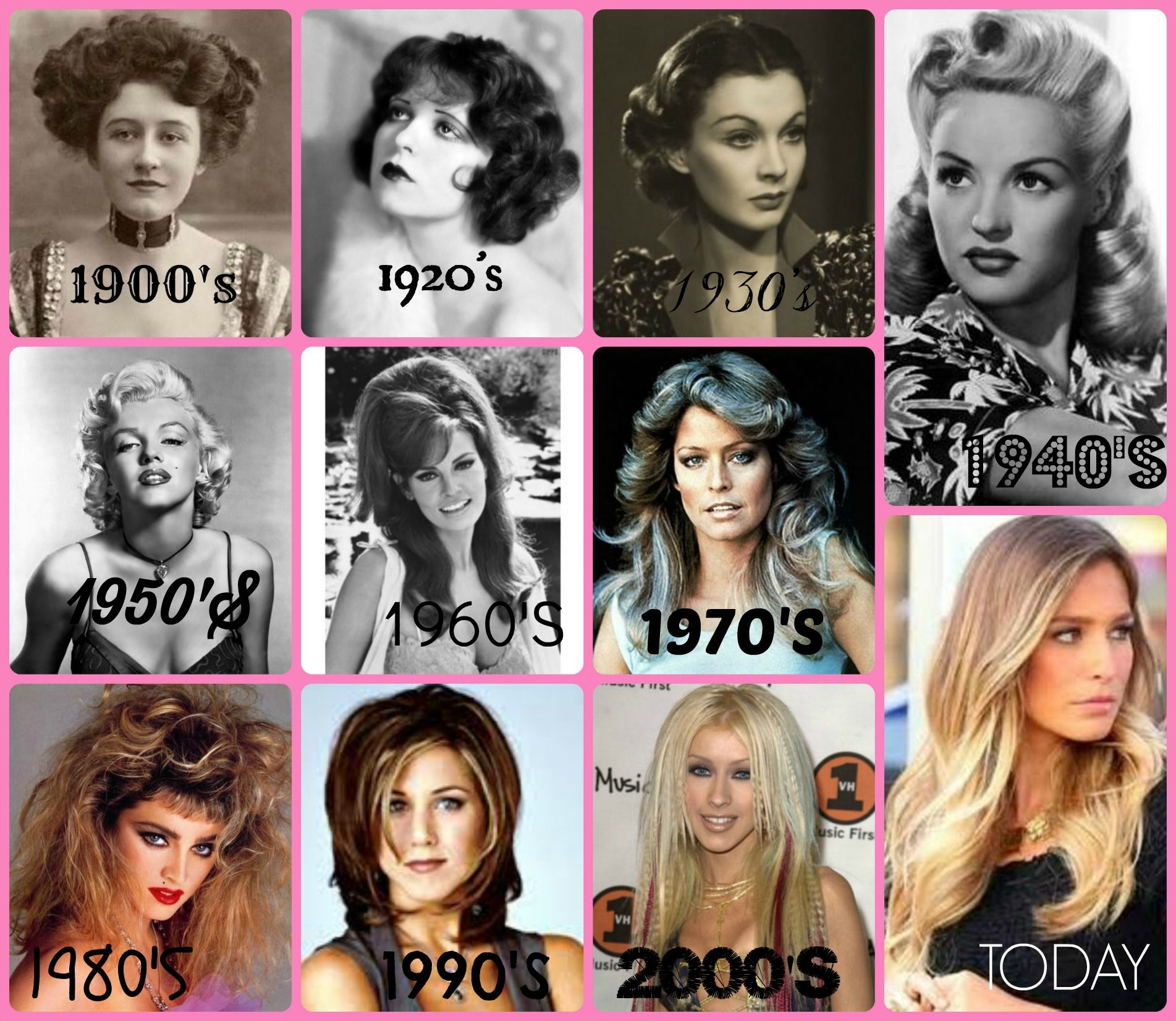 Hair Throughout The Decades Vintage Hairstyles Celebrity Hairstyles Muscles Mascara