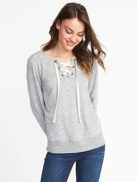 b261e7914b24aa Old Navy Relaxed Lace-Up French Terry Top | Old Navy blouse ...