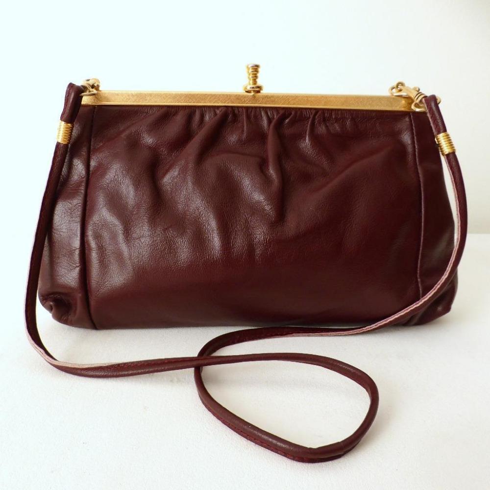 Details About Bonney Australia Vintage Bag Burgundy Top Grain Hide Leather Shoulder Bag Clutch Leather Shoulder Bag