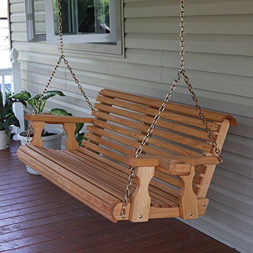 Amazing Amish Heavy Duty 700 Lb Roll Back 5Ft. Treated Porch Swing With Cupholders    Cedar