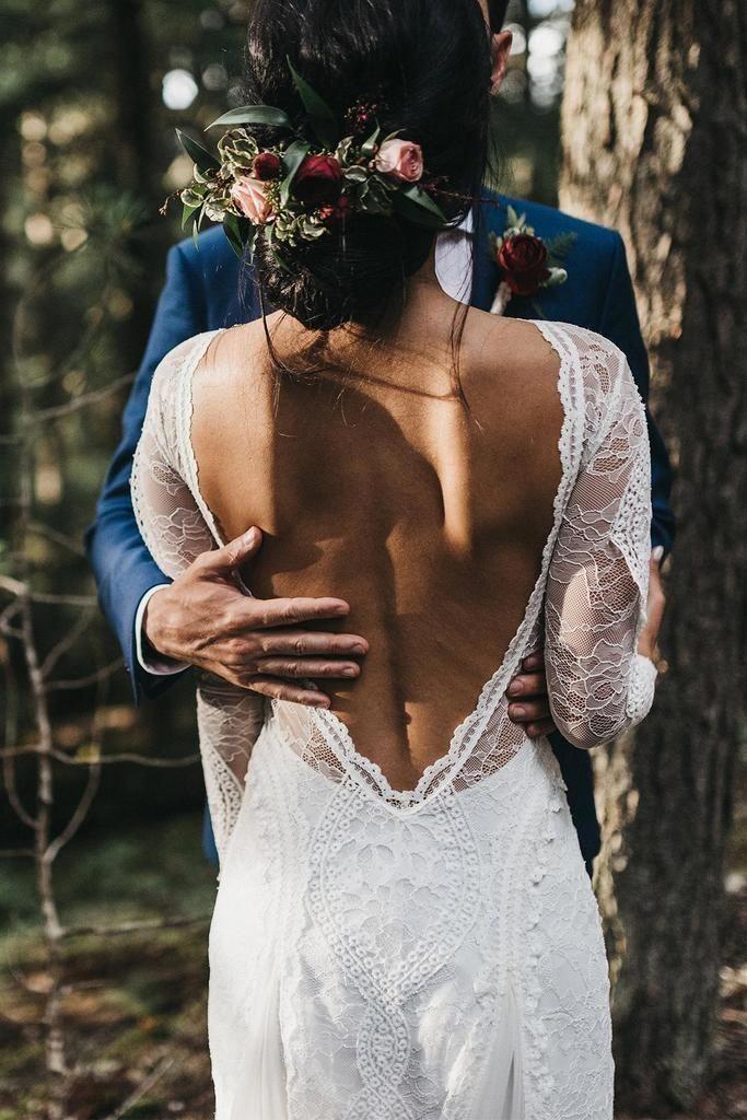 Spitze Bohemian Brautkleider Französisch Spitze Langarm Boho Chic Kleid Open Ba… – New Ideas