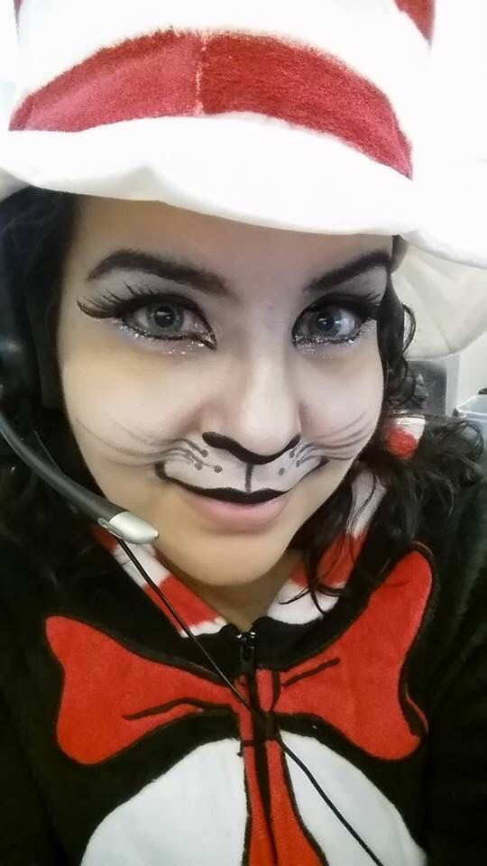 cat in the hat makeup and costume httpsmfacebookcom - Cat In The Hat Halloween Costume Ideas