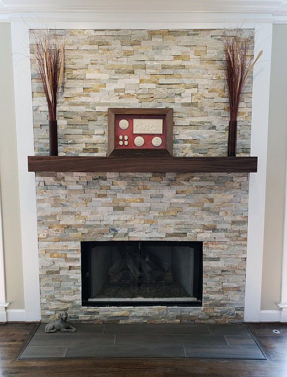 Walnut Modern Beam Mantel Black
