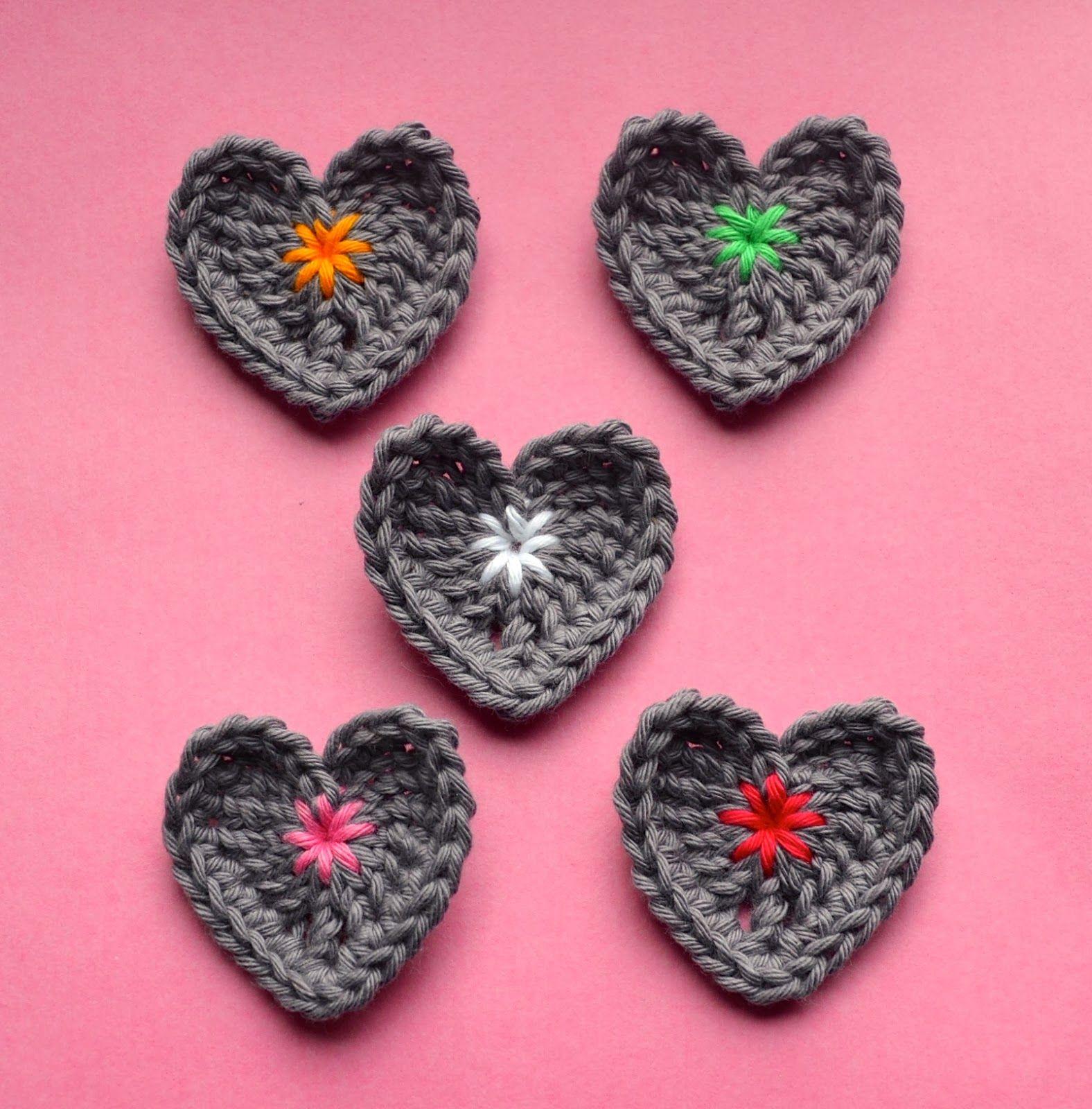 Hartjes Haken Gratis Haakpatroontje Crocheting Little Hearts