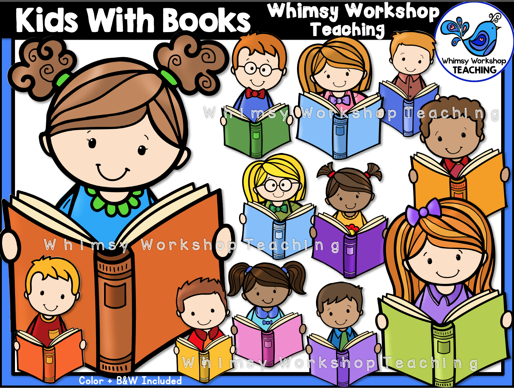 Kids With Books Clip Art | Clip art, Teaching ideas and Bulletin board