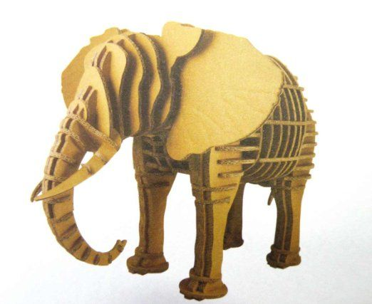 Amazon Com The Ultimate Brain Teaser 3d Animal Elephant Cardboard Puzzle For Age 5 And Up Delightful Animal Figur Cardboard Puzzle Elephant Animal Figures