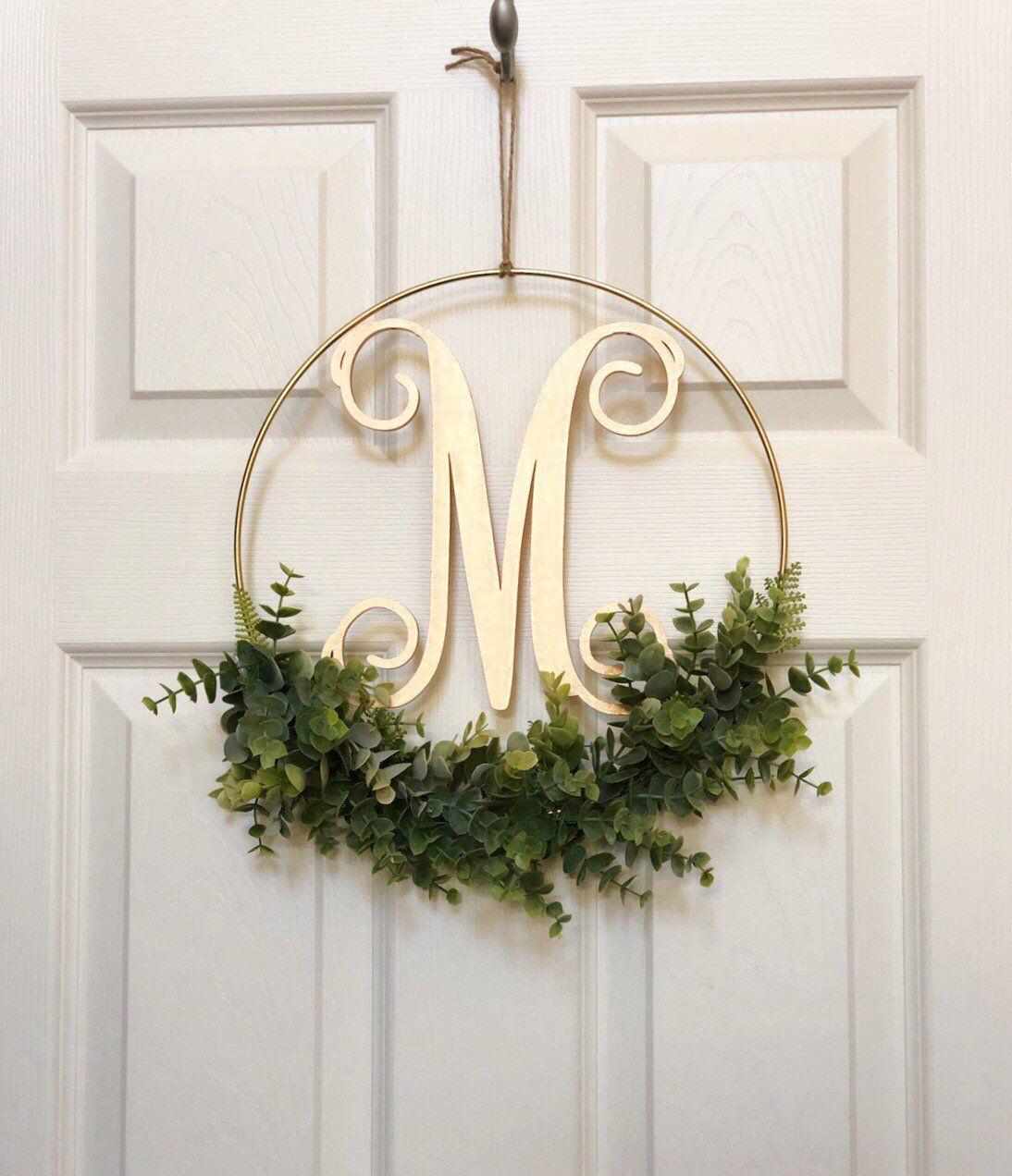Photo of Modern Hoop 12″ Wreath – Artificial Eucalyptus Wreath – Modern Wreath with Initial – Letter Monogram Sign for Door – Farmhouse Hoop Wreath