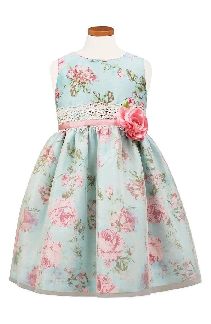 Main Image - Sorbet Floral Print Shantung Dress (Toddler Girls, Little Girls & Big Girls)