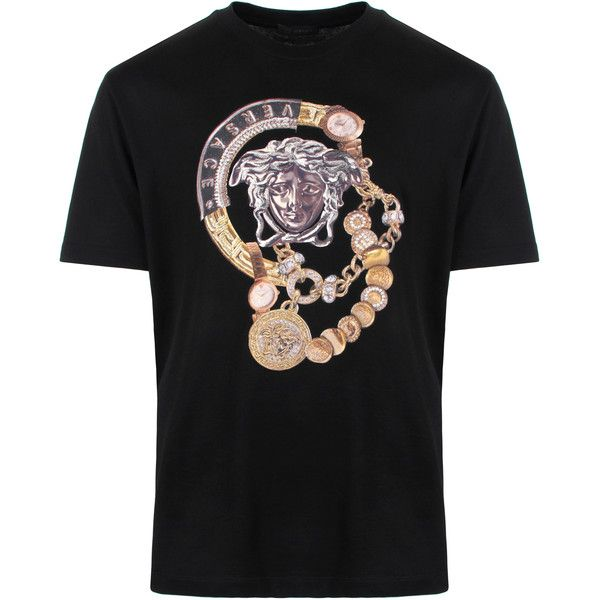 127ae0e5fb37 Versace Coins And Chains Medusa Head T-Shirt in black. Versace introduce  their Coins and Chains Medusa Head crew neck T-Shirt, a statement piece  with an ...