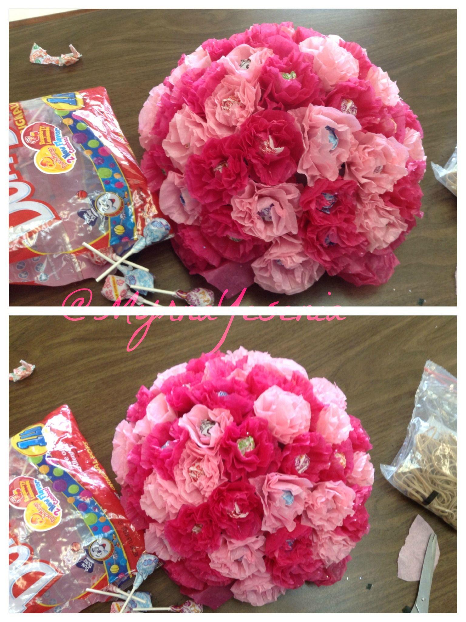 Candy Bouquet DumDum Sucker and Tissue Paper Flower