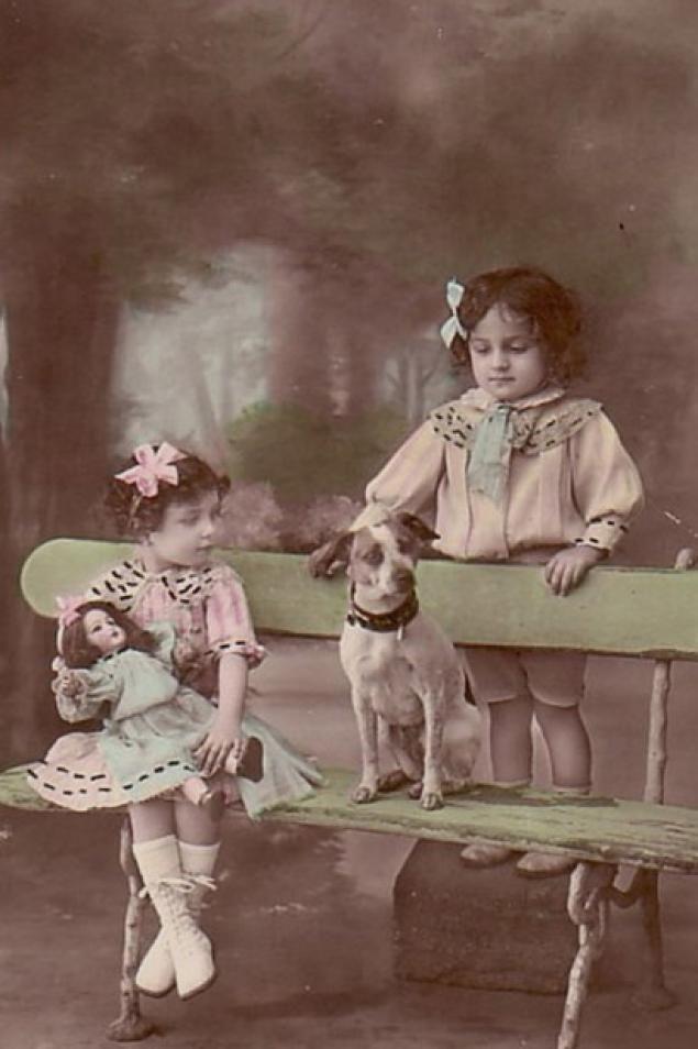 Ретро картинки дети с животными