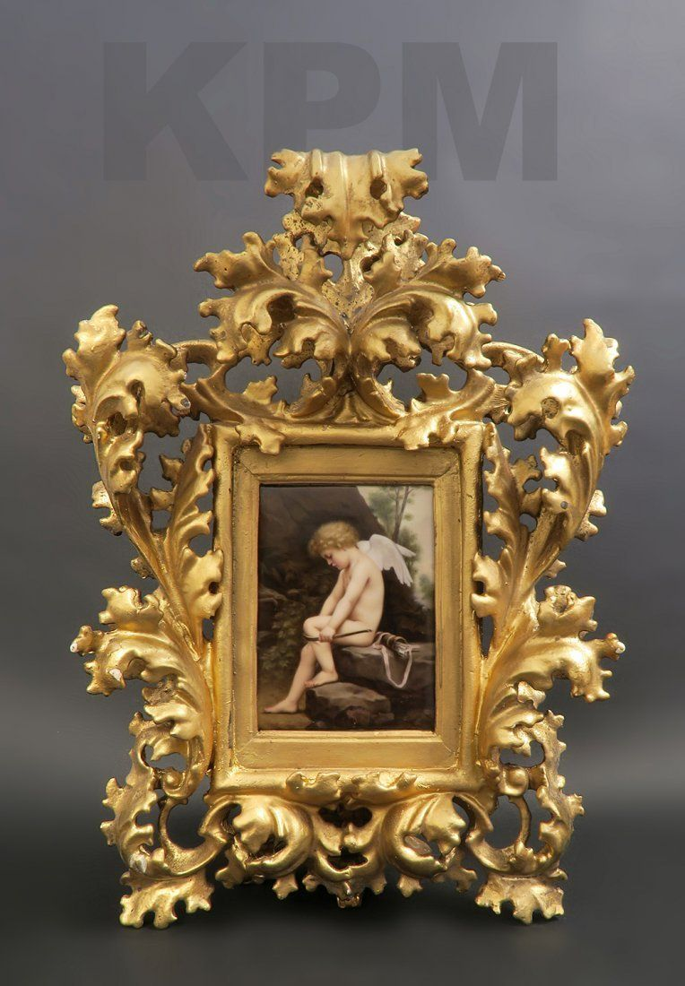 Berlin KPM plaque Cupid Breaking Bow Cherub Valentine : Lot 163