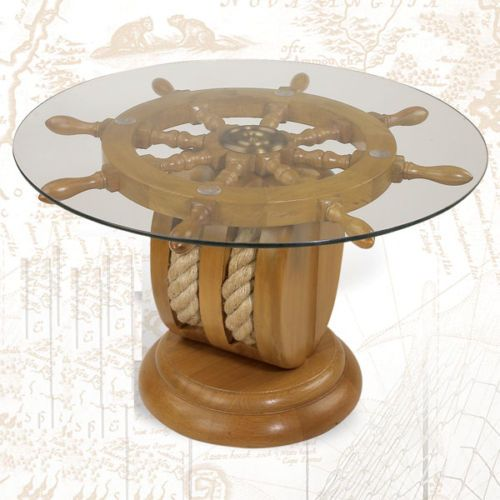 Attractive Ships Wheel End Table Nautical Furniture Shipwheel Boat Gift With Rope NEW