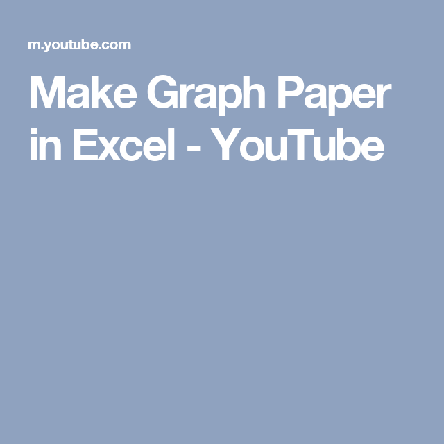 Make Graph Paper In Excel  Youtube  Cross Stitch Graph