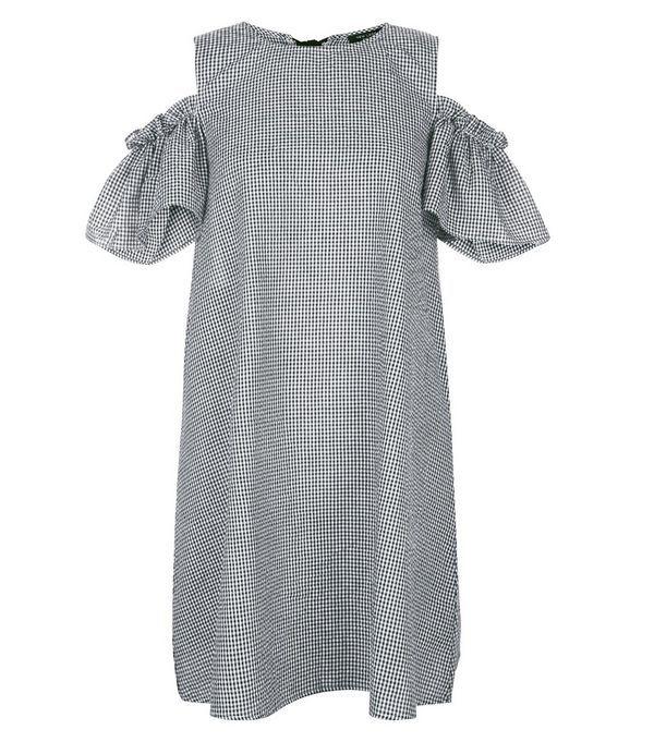 Gingham Cold Shoulder Dress - Black pattern New Look Petite TRRT2OVhDO