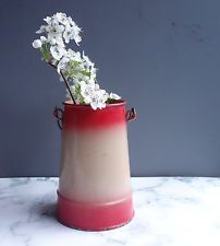 Red French vintage pail enamelware