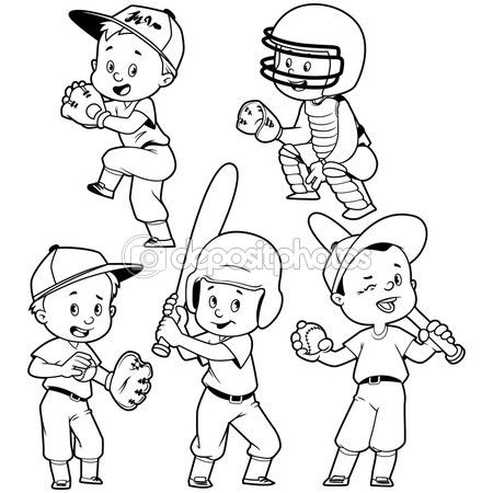 Dibujos Animados De Ni 241 Os Jugando Al B 233 Isbol Vector