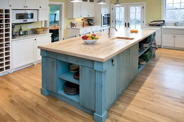 Hand painted distressed antique blue island with bowling alley counter top  · Teal Kitchen CabinetsBlue ... - Hand Painted Distressed Antique Blue Island With Bowling Alley