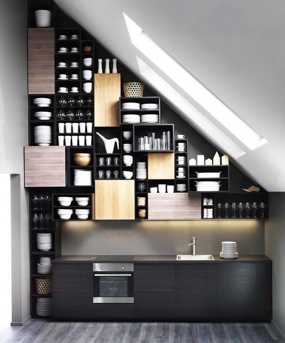 endloser stauraum unter der dachschr ge dachschr ge stauraum und k chen modern. Black Bedroom Furniture Sets. Home Design Ideas