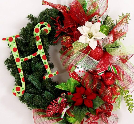 How To Make Mesh Ribbon Wreaths For Christmas Monogram Christmas Wreath Initial Letter Mesh Ribbon Holiday Door