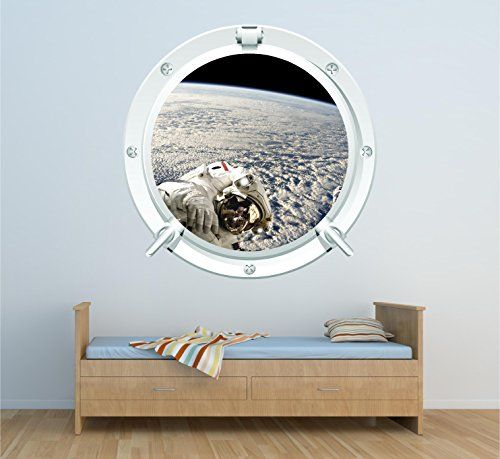 Space 2 Astronaut Porthole Stars Galaxy Wall Art Sticker Decal Full Colour Print (X large 85cm x 85cm £19.99): Amazon.co.uk: Kitchen & Home