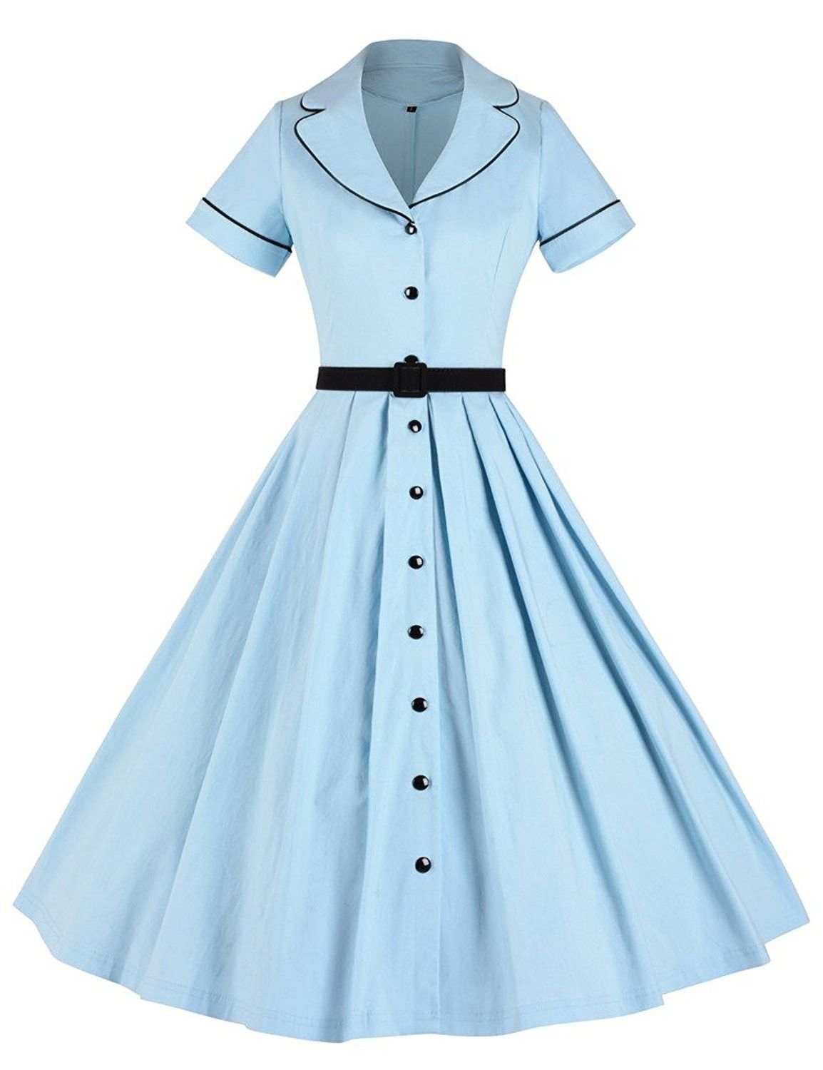 Women's Clothing, Dresses, Casual, Women's 1950sVintage Classical Casual Swing A... 1